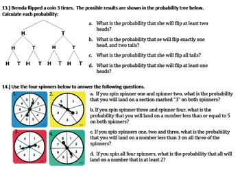 Statistics & Probability Exam, Jeopardy and Study Guide 7th Grade Math