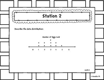 Statistics Probability Review Stations- 6.SP.1, 2, 3, 4, 5abcd