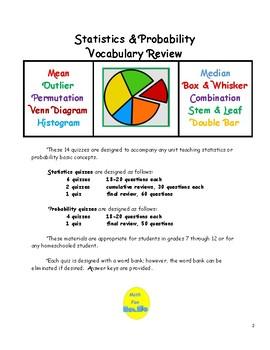 Statistics & Probability Vocabulary Quizzes