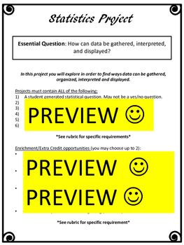Statistics Project 6th Grade  - Summative Assessment Project-Based Learning