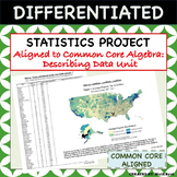 Statistics Project - Aligned to Common Core Algebra - Describing Data Unit