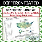 Statistics Project - Aligned to Common Core Algebra - Describing Data Unit
