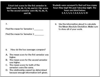 Algebra Unit 6 Describing Data Quiz