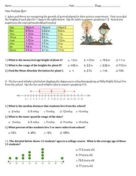 Statistics Quiz 7th Grade Math~ Measures of Center and Variance
