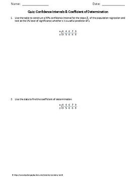 Statistics Quiz: Confidence Intervals & Coefficient of Determination
