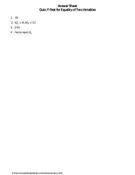 Statistics Quiz: F-Test for Equality of Two Variables
