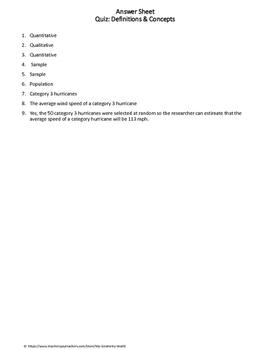 Statistics Quiz: Definitions & Concepts