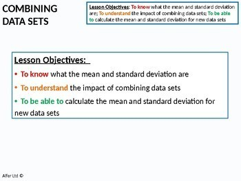 Statistics: (S1) Combining Data Sets (Mean & Standard Deviation)
