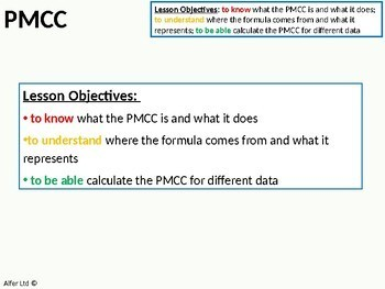 Statistics: (S1) Product Moment Correlation Coefficient (PMCC) + Resources