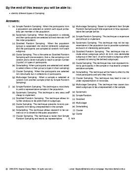 Statistics – Sampling Techniques