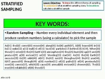 Statistics: Sampling (mainly Stratified Sampling)