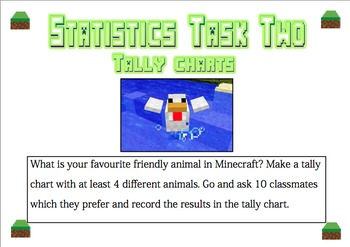 Statistics Task Cards - Minecraft Themed - NZ level 2 unit AGES 7-10 NO PREP