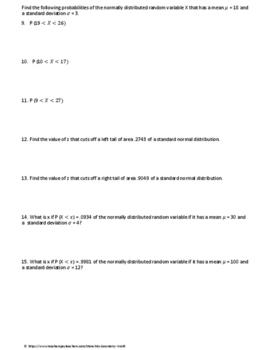 Statistics Test: Continuous Random Variables