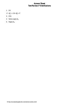 Statistics Test Review: F-Distributions