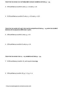 Statistics Test Review: Two Samples