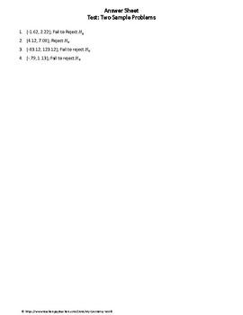 Statistics Test: Two Sample Problems