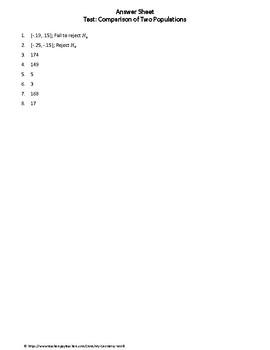 Statistics Test: Two Samples