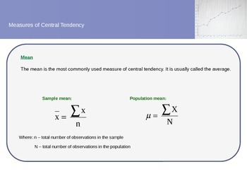 Statistics Topic three - Measures of Central Tendency, Variation and Location