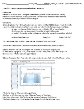 Statistics Unit 2 Activity - Spreadsheets and Heartbeats (1 day)