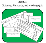 Statistics Unit - Dictionary, Flashcards, and Quiz