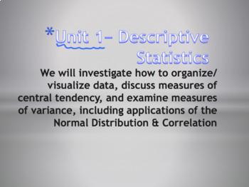 Statistics Unit Plan 1 - Introduction to Statistics