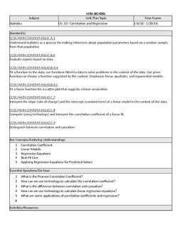 Statistics Unit Plan 7 - Correlation and Regression