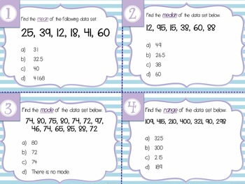 Statistics Unit Review {Task Cards}