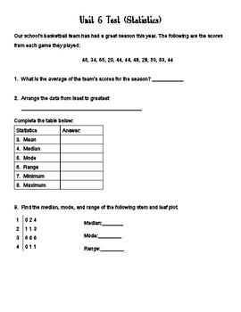 Statistics Unit Test