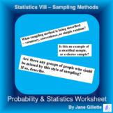 Statistics VIII - Sampling Methods