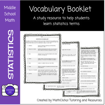 Statistics Vocabulary Booklet