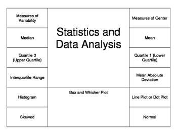 Statistics Vocabulary Foldable