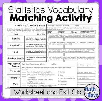 Statistics Vocabulary - Matching Activity, Worksheet And