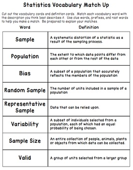 Statistics Vocabulary - Matching Activity, Worksheet and Assessment (7.SP.1)