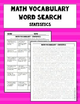 Statistics Vocabulary Word Search