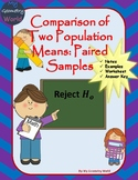 Statistics Worksheet: Comparison of Two Paired Sample Population Means