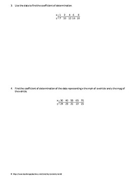 Statistics Worksheet: Correlation of Determination
