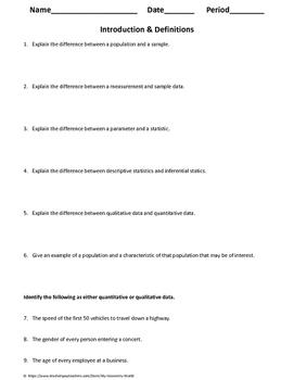 Statistics Worksheet: Intro & Definitions