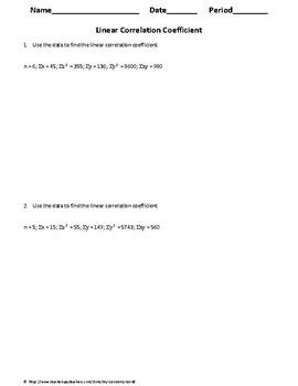 Statistics Worksheet: Linear Correlation Coefficient