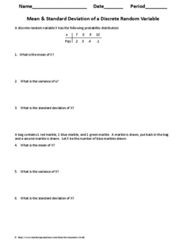 Statistics Worksheet: Mean & Standard Deviation of a Discrete Random Variable