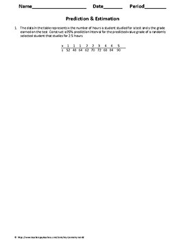 Statistics Worksheet: Prediction & Estimation