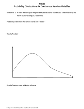 Statistics Worksheet: Probability Distributions for Continuous Random Variables