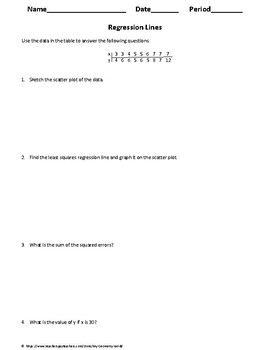 Statistics Worksheet: Regression Lines