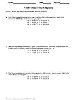 Statistics Worksheet: Relative Frequency Histograms