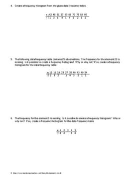 Statistics Worksheet: Stem and Leaf Diagrams & Frequency Histograms