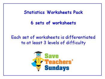 Statistics Worksheets Bundle / Pack (6 sets for 1st - 2nd grade)