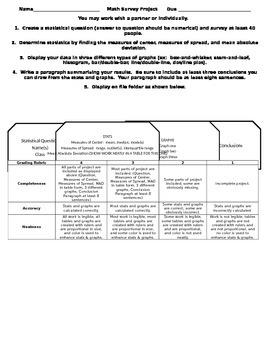 Statistics and Graphs Math Project Grade 6