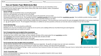 Statistics and Inferences Math Project for Middle School Math