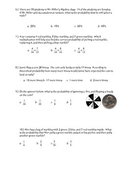 Statistics and Probability ~ 7th grade math ~ Unit Exam or Review