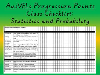 Statistics and Probability - AusVELs Progression Points - Class Checklist