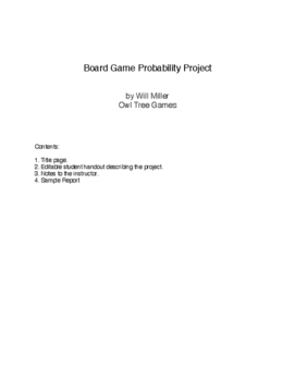 Statistics And Probability Board Game Design Inquiry Project By Will - Board game design document